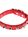 Dog Collar Adjustable/Retractable / Studded / Rivet Red / Brown / Pink PU Leather