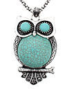 Fat And Logy Owl Pattern Tibetan Silver Turquoise Necklace
