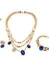Z&X®  Multichamber Full Rhinestone Blue Gem Jewelry Set