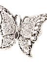 Papillon Bague en forme de diamant en métal réglable (Argent)
