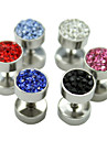 1PCS 8mm Zircon Titanium Steel Dumbbell Pattern Earrings(Assorted Colors)