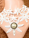 Vintage Pearl Lace Flower Pattern Necklace