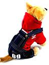 Chien Pulls à capuche Combinaison-pantalon Vêtements pour Chien cow-boy Mode Jeans Gris Rouge Costume Pour les animaux domestiques