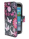 Borboletas Blue Pattern Capa de Couro PU com suporte e slot para cartão de Samsung I9300 Galaxy S3