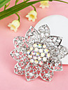 Silver Plated Hollow Flower Brooch
