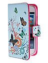 Для Кейс для  Samsung Galaxy Бумажник для карт / со стендом / Флип / С узором / Магнитный Кейс для Чехол Кейс для БабочкаИскусственная