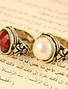 European And American Jewelry Vintage Faceted Round Pearls And Precious Stones Carved Rings R470