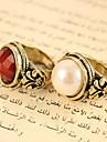 Европейские и американские ювелирные Vintage Грановитая круглый жемчугом и драгоценными камнями Кольца резные R470