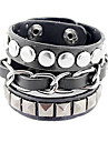 Punk Style Three Layer Rivet Leather Bracelet(Assorted Color) Christmas Gifts