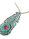 Bohemian retro blue peacock feather long necklace sweater chain N439