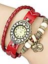 vindima gato pingente de couro banda quartzo analógico pulseira relógio das mulheres (cores sortidas)