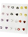 Coreia do estilo do amor do coração strass Brincos (cor aleatória)