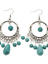 Vintage Hollow Circle Bead Green Turquoise Drop Earrings