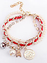 (1 шт) Мода 23см Женская White Pearl Chain & ссылка браслет (розовый, зеленый)