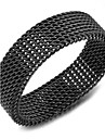 Black / Silver Titanium Steel Band Ring (1pc) Mode Homme