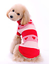 Dog Sweater Dog Clothes Cute Hearts Red Costume For Pets