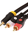 JSJ® 1.8M 5.904FT 3.5mm Stereo Male to 2 RCA Male Audio Cable - Black