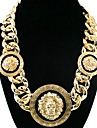 Fashion Three Gold and Black Lion Head Alloy Statement Necklace