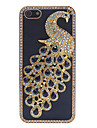 Magnificent Peacock with Diamonds Covered PU Hard Case for iPhone 5/5S