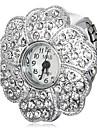 Mulheres Simulado Diamante Relógio Quartzo imitação de diamante Banda Brilhante Flor Prata