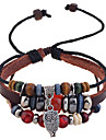 leather Charm Bracelets Lureme®Fashion Multi-Beads Charming Pendant Leather Braided Bracelet