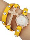 여자의 수정 같은 십자가 장식 가죽 밴드 석영 아날로그 팔찌 시계 (분류 된 색깔)