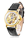 Women's Auto-Mechanical Elegant Gold Skeleton Black PU Band Wrist Watch