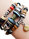 Ethnic Beads 24cm Women's Brown Leather Wrap Bracelet(1 Pc) Christmas Gifts