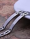 Presente personalizado simples Jewelry Design Homens de prata do aco inoxidavel gravado ID pulseiras 0,8 centimetros de largura