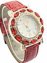 Women's Diamante White Dial PU Band Quartz Analog Wrist Watch (Assorted Colors)