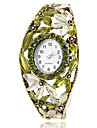 Mulheres Bohemia Estilo Folha Verde Bronze Alloy relógio pulseira de quartzo