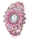 Женская Богемия Стиль Розовый Цветочный декор бронзового сплава Кварц Браслет Смотреть