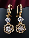 Fashion Zircon Inlay Gold Plated Drop Earrings