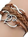 shixin® European Heart 18 centímetros pulseira envoltório de couro marrom das mulheres (1 pc)
