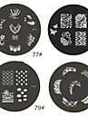 1 Piece M Series Rounded Abstract Design Nail Art Stamp Stamping Image Template Plate NO.77-80(Assorted Pattern)