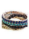 Lureme®Contrast Color Acrylic Beads Bracelets Set