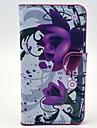 Фиолетовый Цветы Pattern кожаный чехол с карт памяти и ПОВ по Samsung Galaxy Экспресс 2 G3815