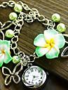 Mulheres Relogio de Moda Bracele Relogio Quartzo Aco Inoxidavel Banda Flor Preta Azul Verde Rosa Roxa Roxo Amarelo Verde Azul Rosa claro