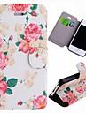 Grãos especiais Pink Rose Pattern PU caso completo corpo com slot para cartão para o iPhone 4/4S