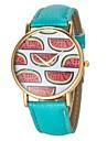 여자의 수박 무늬 PU 밴드 석영 손목 시계 (분류 된 색깔)