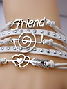 bracelets en cuir alliage bracelets d'inspiration ami et musique notation multicouche main bracelet en cuir