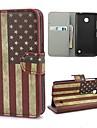 Bandeira americana Retro EUA Caso carteira de couro com suporte e slot para cartão de Nokia Lumia 630