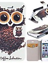 Kopi Luwak Owl Pattern Clamshell PU Leather Full Body Case with Card Slot for iPhone 4/4S