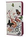 Flores e círculos Padrão Capa de Couro PU com suporte e slot para cartão de Sony Xperia M c1905