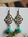 Vintage Bronze Copper Drop Earrings(Green)(1 Pair)