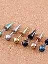 Lureme®316L Surgical Titanium Steel Pointed Ball Single Stud Earrings (Random Color)