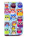 COCO ® FUN bonito colorido Coruja Padrao PU Leather Case Full Body Com Filme, Stand And Stylus para iPhone 4/4S