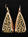 Classic Drop Water Shape Leopard Print Golden Drop Earrings(1 Pair)