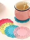 Circular Hollow-out Shape Silica Gel Mat Fresh Style(Color Random)