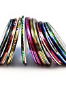 10PCS Mixs Color  Foil Stripping Tape Line Nail Stripe Tape Nail Art Decoration Sticker (Random Color)